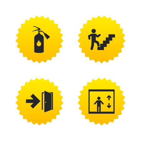 Emergency exit icons. Fire extinguisher sign. Elevator or lift symbol. Fire exit through the stairwell. Yellow stars labels with flat icons. Vector
