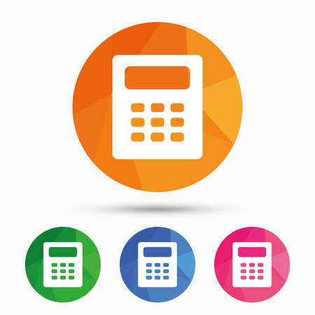 calc: Calculator sign icon. Bookkeeping symbol. Triangular low poly button with flat icon. Vector Illustration
