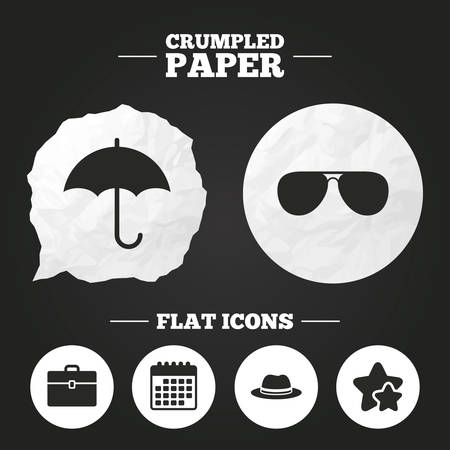 paper case: Crumpled paper speech bubble. Clothing accessories icons. Umbrella and sunglasses signs. Headdress hat with business case symbols. Paper button. Vector