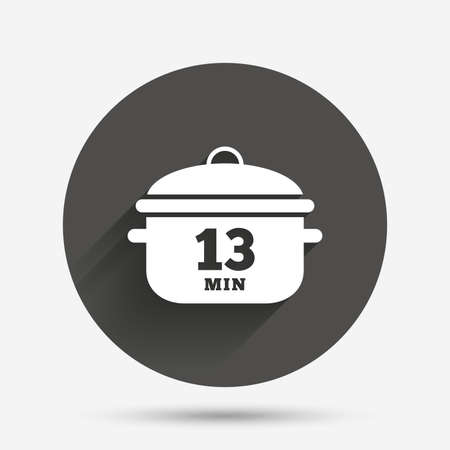 stew pan: Boil 13 minutes. Cooking pan sign icon. Stew food symbol. Circle flat button with shadow. Vector
