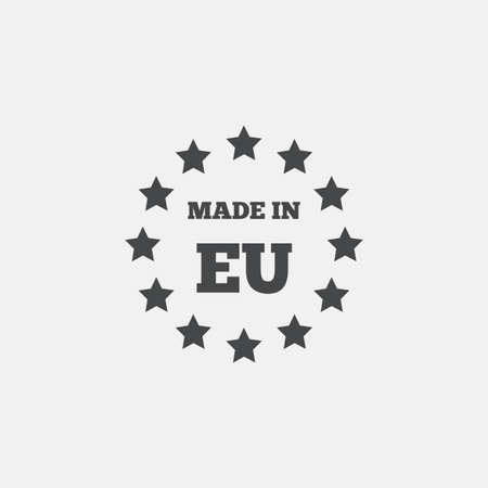 Made in EU icon. Export production symbol. Product created in European Union sign. Flat icon on white background. Vector