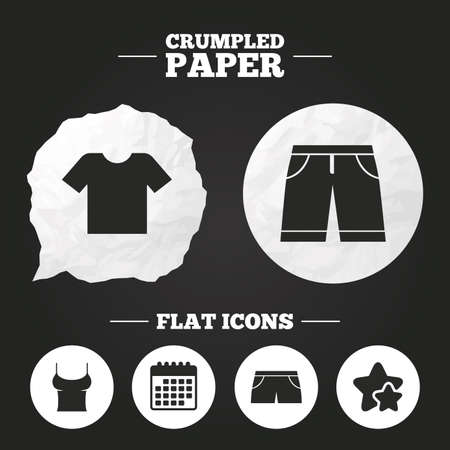 Crumpled Paper Speech Bubble Clothes Icons T Shirt With Business
