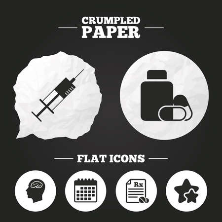 head paper: Crumpled paper speech bubble. Medicine icons. Medical tablets bottle, head with brain, prescription Rx and syringe signs. Pharmacy or medicine symbol. Paper button. Vector