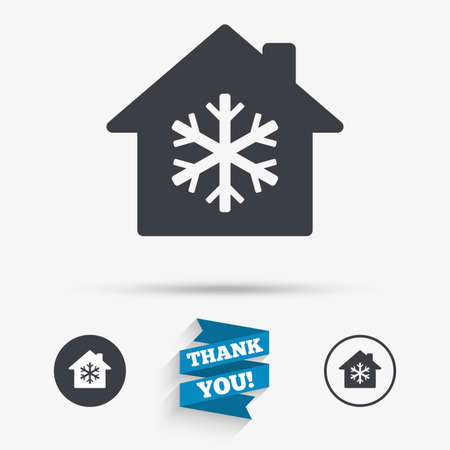indoors: Air conditioning indoors icon. Snowflake sign. Flat icons. Buttons with icons. Thank you ribbon. Vector Illustration