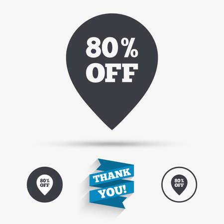 you are special: 80% sale pointer tag sign icon. Discount symbol. Special offer label. Flat icons. Buttons with icons. Thank you ribbon. Vector