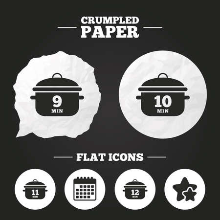 9 11: Crumpled paper speech bubble. Cooking pan icons. Boil 9, 10, 11 and 12 minutes signs. Stew food symbol. Paper button. Vector Illustration