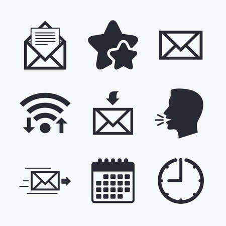 outbox: Mail envelope icons. Message document delivery symbol. Post office letter signs. Inbox and outbox message icons. Wifi internet, favorite stars, calendar and clock. Talking head. Vector Illustration