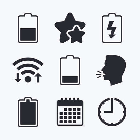 full time: Battery charging icons. Electricity signs symbols. Charge levels: full, half and low. Wifi internet, favorite stars, calendar and clock. Talking head. Vector Illustration