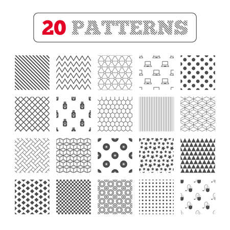optical disk: Ornament patterns, diagonal stripes and stars. Notebook pc and Usb flash drive stick icons. Computer mouse and CD or DVD sign symbols. Geometric textures. Vector Illustration