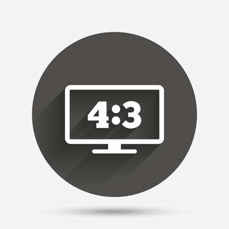 Aspect ratio 4:3 widescreen tv sign icon. Monitor symbol. Circle flat button with shadow. Vector