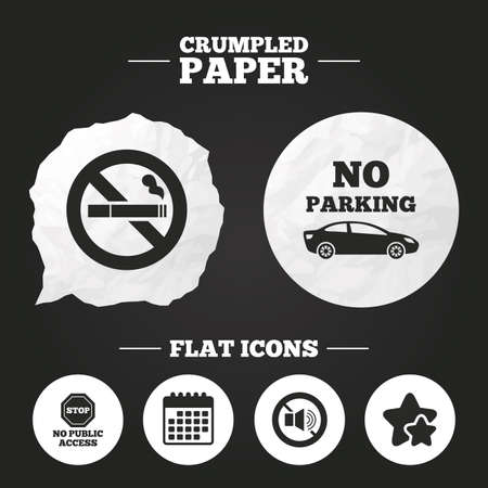 public private: Crumpled paper speech bubble. Stop smoking and no sound signs. Private territory parking or public access. Cigarette symbol. Speaker volume. Paper button. Vector