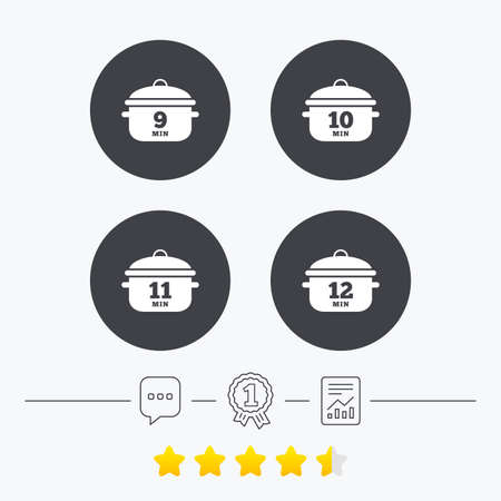 10 12: Cooking pan icons. Boil 9, 10, 11 and 12 minutes signs. Stew food symbol. Chat, award medal and report linear icons. Star vote ranking. Vector