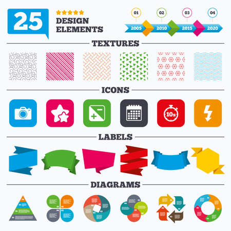 seconds: Offer sale tags, textures and charts. Photo camera icon. Flash light and exposure symbols. Stopwatch timer 10 seconds sign. Sale price tags. Vector