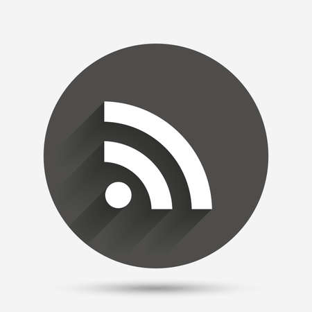 rss sign: RSS sign icon. RSS feed symbol. Circle flat button with shadow. Vector