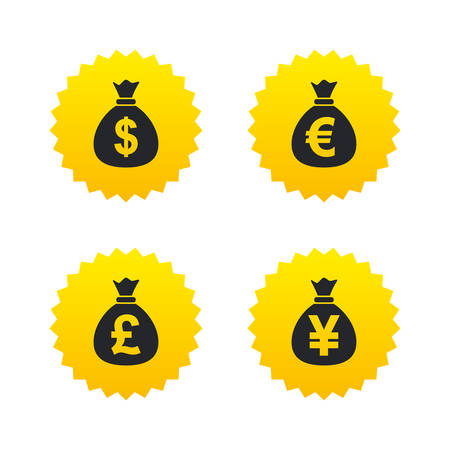 jpy: Money bag icons. Dollar, Euro, Pound and Yen symbols. USD, EUR, GBP and JPY currency signs. Yellow stars labels with flat icons. Vector