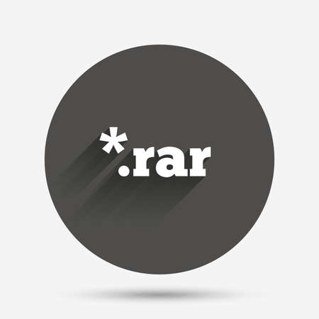rar: Archive file icon. Download compressed file button. RAR zipped file extension symbol. Circle flat button with shadow. Vector