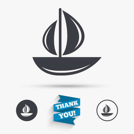 ship sign: Sail boat icon. Ship sign. Shipment delivery symbol. Flat icons. Buttons with icons. Thank you ribbon. Vector