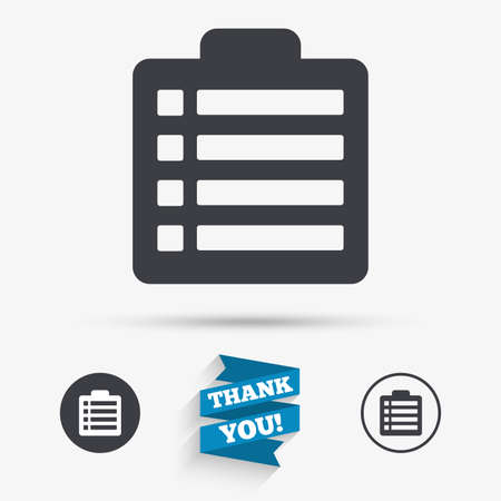 poll: Checklist sign icon. Control list symbol. Survey poll or questionnaire form. Flat icons. Buttons with icons. Thank you ribbon. Vector