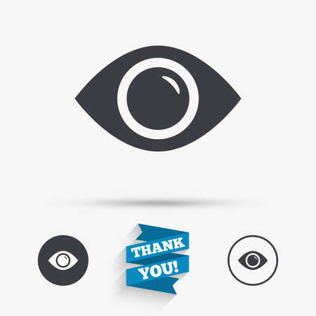 publish: Eye sign icon. Publish content button. Visibility. Flat icons. Buttons with icons. Thank you ribbon. Vector