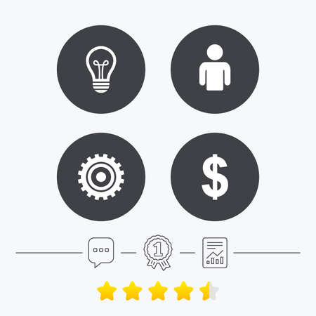 energy ranking: Business icons. Human silhouette and lamp bulb idea signs. Dollar currency and gear symbols. Chat, award medal and report linear icons. Star vote ranking. Vector