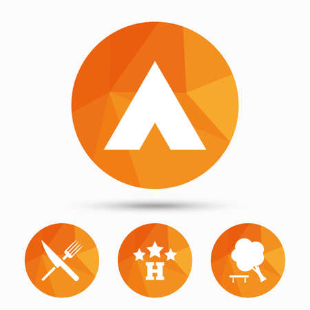break down: Food, hotel, camping tent and tree icons. Knife and fork. Break down tree. Road signs. Triangular low poly buttons with shadow. Vector