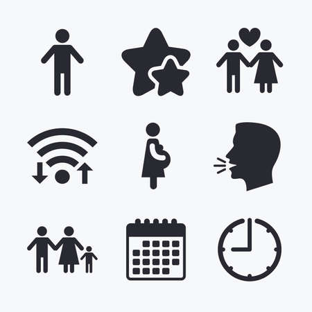 birth sign: Family lifetime icons. Couple love, pregnancy and birth of a child symbols. Human male person sign. Wifi internet, favorite stars, calendar and clock. Talking head. Vector