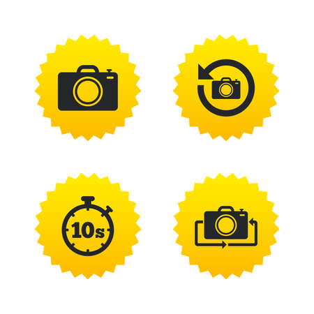 turn yellow: Photo camera icon. Flip turn or refresh symbols. Stopwatch timer 10 seconds sign. Yellow stars labels with flat icons. Vector