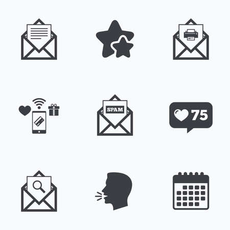 Mail envelope icons. Print message document symbol. Post office letter signs. Spam mails and search message icons. Flat talking head, calendar icons. Stars, like counter icons. Vector