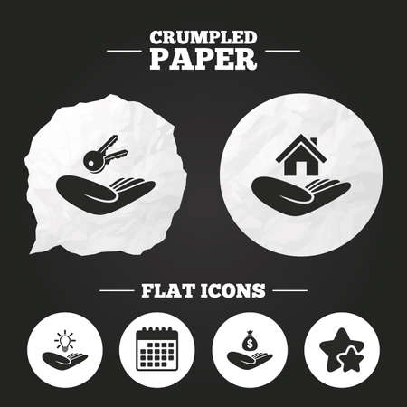 patent key: Crumpled paper speech bubble. Helping hands icons. Financial money savings insurance symbol. Home house or real estate and lamp, key signs. Paper button. Vector