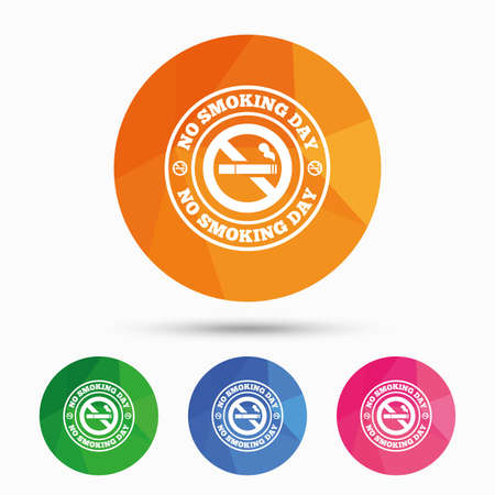 quit: No smoking day sign icon. Quit smoking day symbol. Triangular low poly button with flat icon. Vector