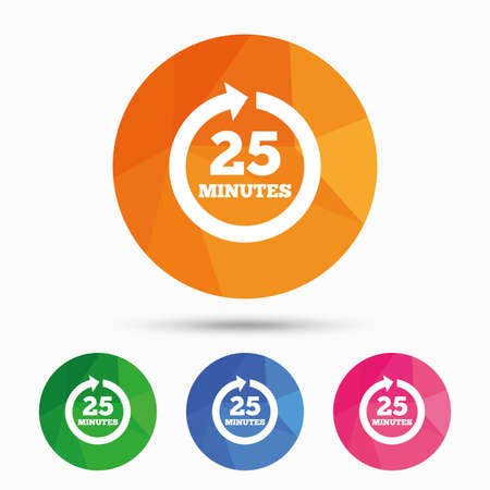 every: Every 25 minutes sign icon. Full rotation arrow symbol. Triangular low poly button with flat icon. Vector Illustration