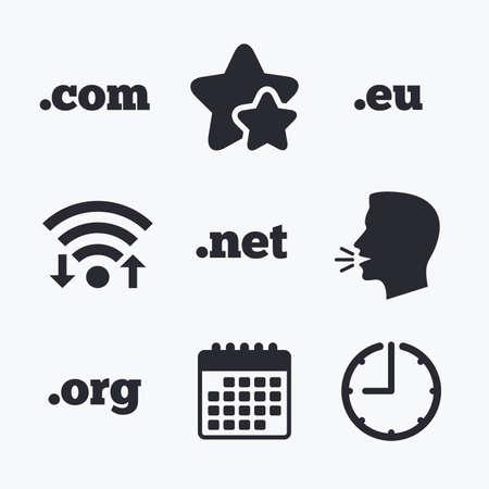 dns: Top-level internet domain icons. Com, Eu, Net and Org symbols. Unique DNS names. Wifi internet, favorite stars, calendar and clock. Talking head. Vector