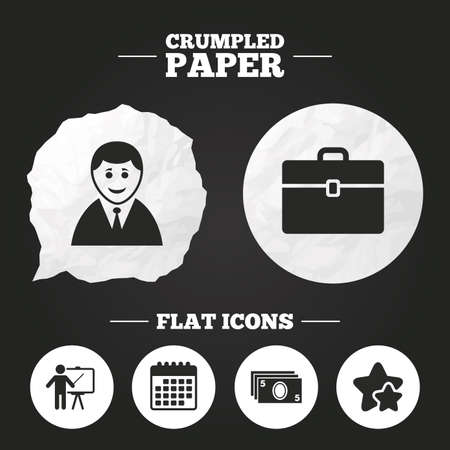 paper case: Crumpled paper speech bubble. Businessman icons. Human silhouette and cash money signs. Case and presentation symbols. Paper button. Vector