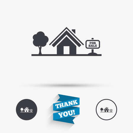 broker: Home sign icon. House for sale. Broker symbol. Flat icons. Buttons with icons. Thank you ribbon. Vector