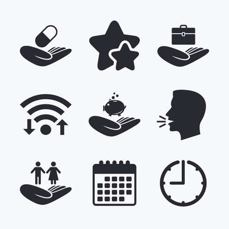head protection: Helping hands icons. Protection and insurance symbols. Financial money savings, health medical insurance. Human couple life sign. Wifi internet, favorite stars, calendar and clock. Talking head. Vector