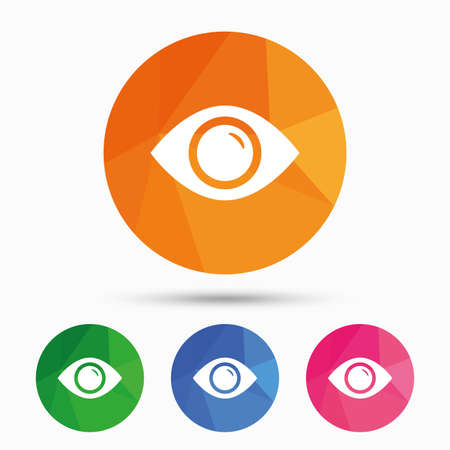 triangular eyes: Eye sign icon. Publish content button. Visibility. Triangular low poly button with flat icon. Vector Illustration
