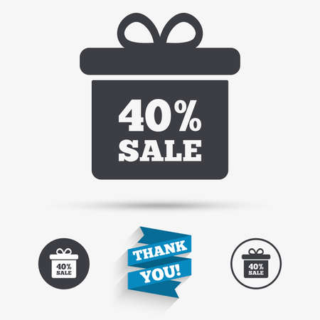 you are special: 40% sale gift box tag sign icon. Discount symbol. Special offer label. Flat icons. Buttons with icons. Thank you ribbon. Vector