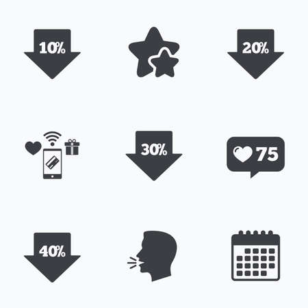 head tag: Sale arrow tag icons. Discount special offer symbols. 10%, 20%, 30% and 40% percent discount signs. Flat talking head, calendar icons. Stars, like counter icons. Vector Illustration