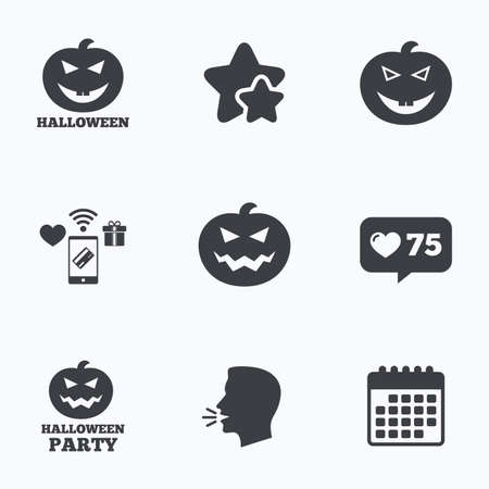 hallows: Halloween pumpkin icons. Halloween party sign symbol. All Hallows Day celebration. Flat talking head, calendar icons. Stars, like counter icons. Vector Illustration