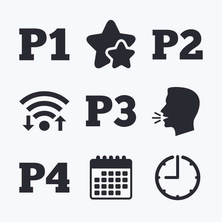 second floor: Car parking icons. First, second, third and four floor signs. P1, P2, P3 and P4 symbols. Wifi internet, favorite stars, calendar and clock. Talking head. Vector Illustration