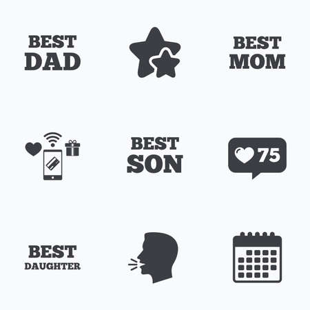 dad son: Best mom and dad, son and daughter icons. Award symbols. Flat talking head, calendar icons. Stars, like counter icons. Vector Illustration