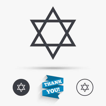 hexagram: Star of David sign icon. Symbol of Israel. Jewish hexagram symbol. Shield of David. Flat icons. Buttons with icons. Thank you ribbon. Vector