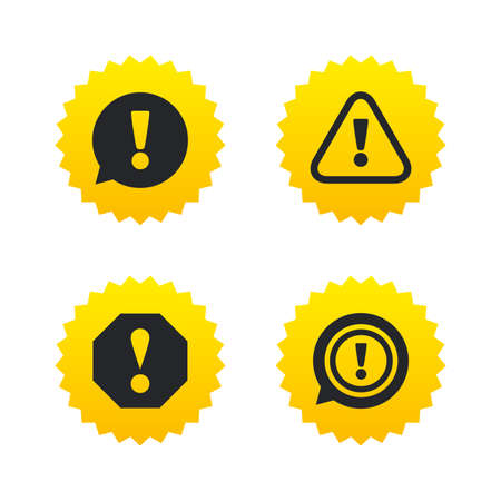 yellow attention: Attention icons. Exclamation speech bubble symbols. Caution signs. Yellow stars labels with flat icons. Vector