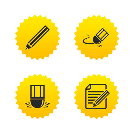 Pencil icon. Edit document file. Eraser sign. Correct drawing symbol. Yellow stars labels with flat icons. Vector