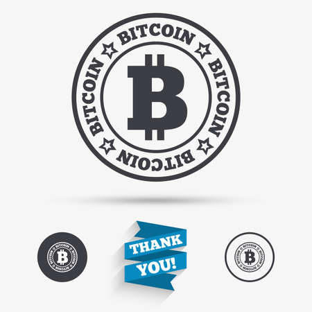 cryptography: Bitcoin sign icon. Cryptography currency symbol. P2P. Flat icons. Buttons with icons. Thank you ribbon. Vector