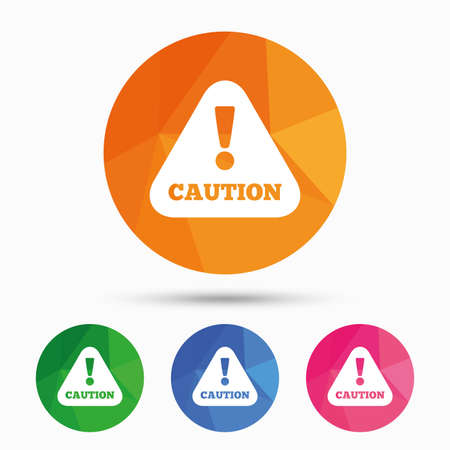 triangular warning sign: Attention caution sign icon. Exclamation mark. Hazard warning symbol. Triangular low poly button with flat icon. Vector