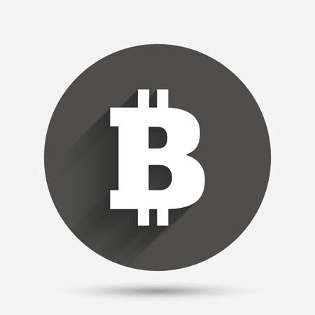 p2p: Bitcoin sign icon. Cryptography currency symbol. P2P. Circle flat button with shadow. Vector