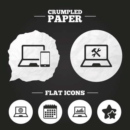 laptop repair: Crumpled paper speech bubble. Notebook laptop pc icons. Internet globe sign. Repair fix service symbol. Monitoring graph chart. Paper button. Vector