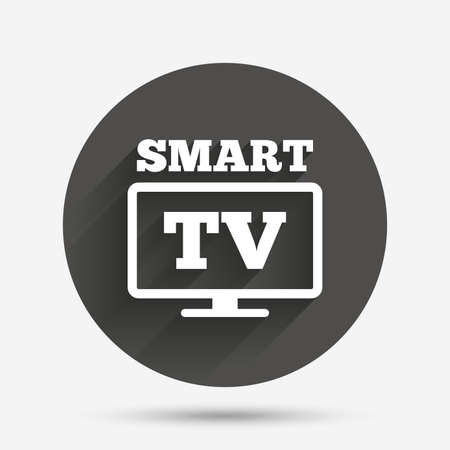 widescreen: Widescreen Smart TV sign icon. Television set symbol. Circle flat button with shadow. Vector