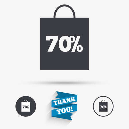 you are special: 70% sale bag tag sign icon. Discount symbol. Special offer label. Flat icons. Buttons with icons. Thank you ribbon. Vector